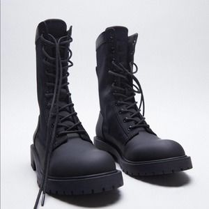 Zara low heel rubberized combat boots